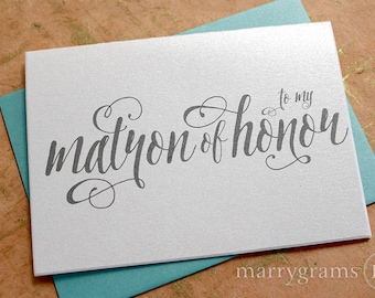 CLOSE OUT - To My Matron of Honor Wedding Party Thank You Cards - Thank You Note Card from Bride to Her Girls, Bridal Party Thanks CS12