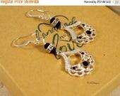 CIJ SALE Black Crystal Chandelier Earrings, Silver Chandeliar Earrings  Beaded Chandelier Pierced or Clip-on Earrings   Gift for Her