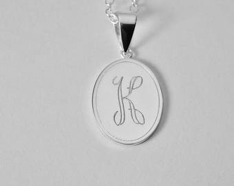 Initial Monogram Personalized Necklace Custom Engraved Sterling Silver Oval Charm Pendant - Hand Engraved