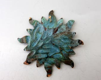 "1 COPPER SUN Pendant, Boho Charm, Verdigris Patina, 1 1/2"", Ready to Ship"
