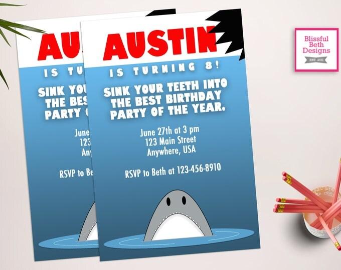 JAWS BIRTHDAY INVITATION Shark Birthday Invitation, Printable Shark Birthday Invitation, Shark Birthday, Jaws, Jaws Birthday Invite