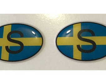 "Sweden S Domed Gel (2x) Stickers 0.8"" x 1.2"" for Laptop Tablet Book Fridge Guitar Motorcycle Helmet ToolBox Door PC Smartphone"