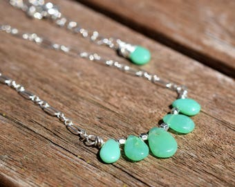 Chrysoprase Necklace, Mint Green Chalcedony Bar Necklace, Sterling Silver Briolette Bar Necklace, Delicate Green Stone Necklace