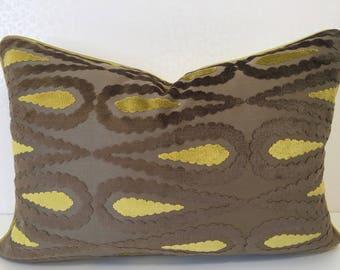 MOCHA velvet PAISLEY pillow Chartreuse velvet cushion cover Taupe chenille pillow Lime yellow velvet Stripe zest linen pillow MoGirl DESIGNS