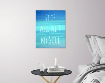 Large Christian Wall Art | It Is Well With My Soul | Positive Vibes Art Print | Inspirational Art Print | Blue Ocean Photography + Hymn Art