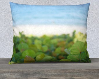 Tropical Pillow | Blue Throw Pillow Cover | Square + Lumbar Throw Pillows | Throw Pillow Covers | Beach Decor Pillows | Coastal Pillows