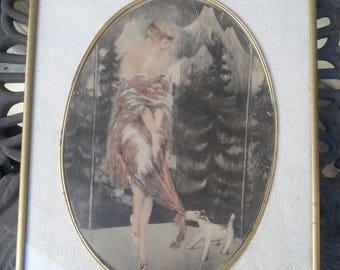 On Sale Rare 1920's Flapper Girl Wall Hanging Picture, Louis Icart Style Bernart Corp NY, Antique Home Decor, Art Deco Art Nouveau
