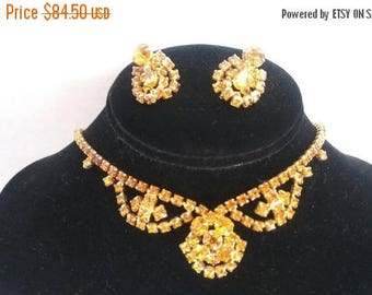 On Sale Vintage Rhinestone Necklace Bracelet Earring 1950's Set Parure Collectible Jewelry Hollywood Regency Retro Rockabilly Accessories