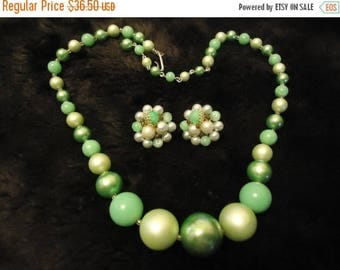 On Sale Vintage Japan Green Necklace & Beaded Earring Set 1950's 1960's Retro Old Hollywood Glam Collectible Mad Men Mod  Jewelry