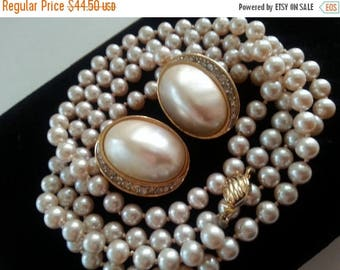 Now On Sale Marvella Signed Necklace Richelieu Earring Set / Demi Parure / Faux Pearl Rhinestone Earrings / 1960s Vintage Collectible Costum