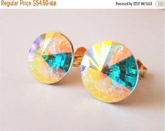 On Sale Vintage Weiss Signed Round AB Crystal Rivoli Rhinestone Clip-On Earrings, 1960's Designer High End Hard To Find Rare Jewelry