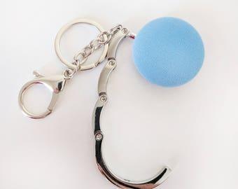 Handbag Hook Key Ring and Bag Charm, Purse Hook Hanger Key chain, Bag Hook, Folding Purse Hanger in Blue