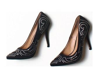 Dolcis Black Studded Faux Suede Court Shoes UK 8 US 10.5 EU 43