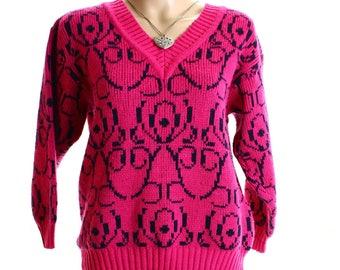 Vintage 80s Pink Retro Ornate Knit Graphic Jumper UK 12 14 US 10 12