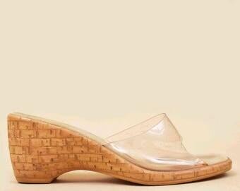 60s 70s Vtg Invisible PVC Cork Wedge Slip On Sandals / Beach Party MOD Sculptural Heel Mule Slides Clog 7 6.5 Eu 37.5 37