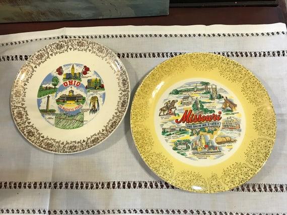Vintage Souvenir State Plates Ohio Missouri Buy one or both