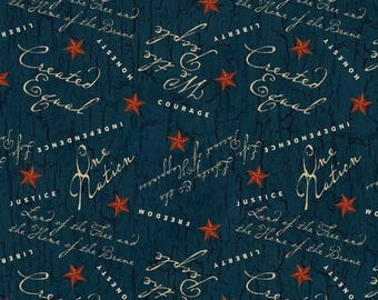 12% off thru July WE THE PEOPLE-patriotic words sayings on blue with red stars by the yard Wilmington fabric-84388-413