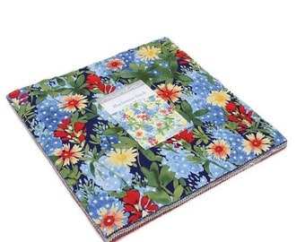 15% off thru Mar.19th BLUEBONNET PATCH Moda Layer Cake fabric 42 10 inch squares 33310LC  Texas wildflowers