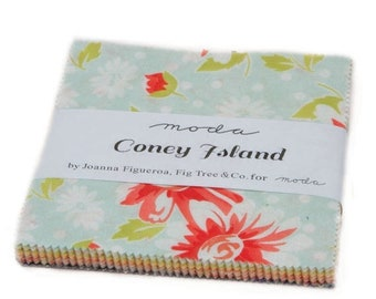 "15% off thru Mar.19th Moda Charm pack CONEY ISLAND 42 5"" squares Fig Tree cotton fabric floral 20280PP"
