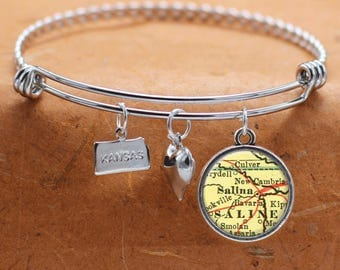 Salina KS Map Charm Bracelet State of Kansas Bangle Cuff Bracelet Vintage Map Jewelry Stainless Steel Bracelet Gifts For Her