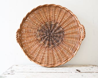 Woven Serving Vintage Basket Plate - Natural - Wicker Woven Wooden Natural Brown Tan Basket Fruit Basket Container