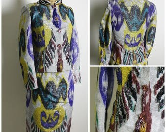 1960s One of Kind Beaded Dress Set