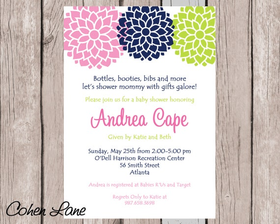 Baby Shower Invitation Flower Shower Invite Baby Shower Invite