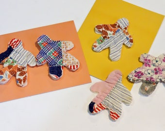 Gingerbread Men Appliques, Vintage Feedsack Cutouts, Prim Shabby Fabric Cutter Quilt Primitive Embellishments, Craft Supply itsyourcountry