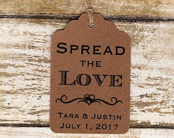 100 SPREAD the LOVE Personalized Handmade Tags-Wedding Wish Tags-Jam-Honey jar tags-Favor tags