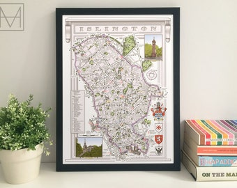 Islington (Borough) illustrated map giclee print