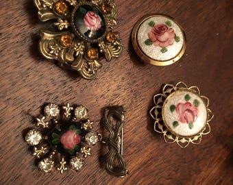 4 Enameled Vintage Brooch Pin Rose