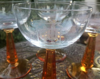 Rare Historic Phoenix Westward Ho barware Glasses Sherry / Champagne / Port Set of 4 Amber Stems Etched WH With Saguaro Cactus Design