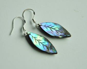 NewZealand Paua Shell & sterling silver leaf earrings