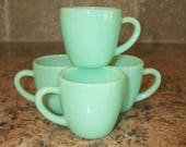 ON SALE FREE Usa Shipping-4 Fire King Jadeite Demitasse Restaurant Cups Jadite-Mint