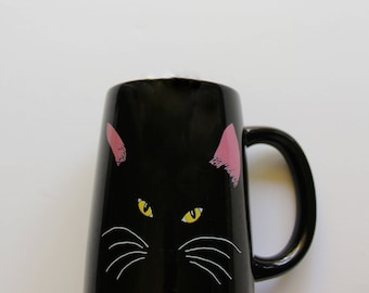 Vintage Otagiri Black Cat Coffee Mug 1980s
