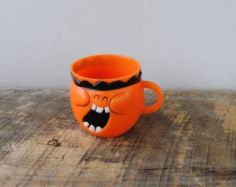 Vintage Kool Aid Character Cup Jolly Olly Orange Funny Face Cup