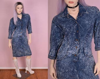 80s Acid Wash Denim Dress/ Small/ 1980s