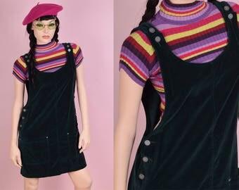 90s Dark Green Velvet Jumper Dress/ Small/ 1990s/ Overall