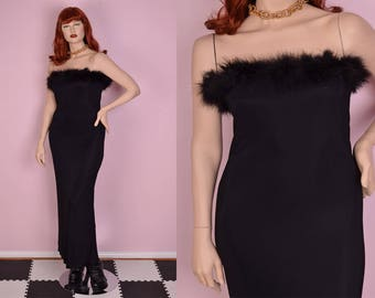 90s Feather Trim Maxi Dress/ US 13-14/ 1990s/ Strapless