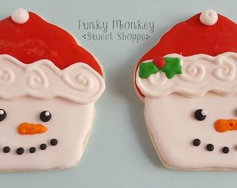 Snowman Cupcake Sugar Cookies