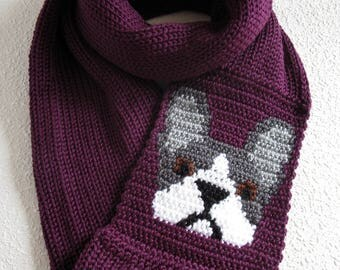 French bulldog scarf. Knit infinity scarf with gray and white bulldogs. Knitted dog scarf. Bulldog gift
