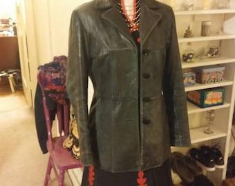 Leather Jacket, Black Leather Jacket, Women's Leather Jacket, Black Coat, Women's Clothing, Black Leather Blazer, Fitted Black Blazer