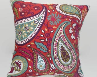 Red Paisley Print Accent, Throw Pillow Cover Upcycled, Eco-Friendly, Sustainable  16 X 16 Cushion Cover