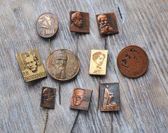 "Vintage Latvian badges,pins. ''Famous People""'. Set of 10."
