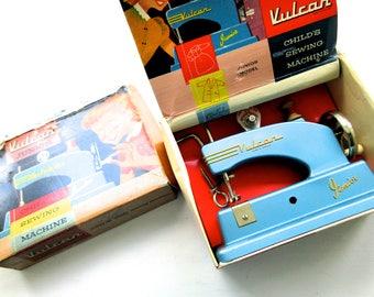Vintage 1950s Vulcan Junior Hand Powered Sewing Machine in Original Box