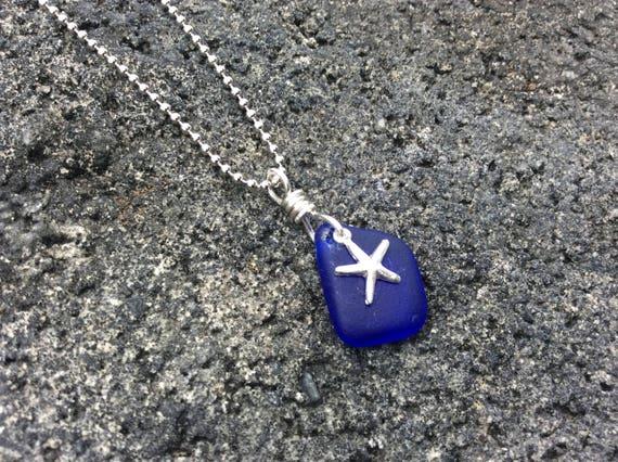 Cobalt Blue Recycled Seaglass, Starfish Charm, Silver Plated Necklace
