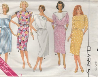1986 Sewing Pattern Butterick 368 Misses dress bust 31.5, 32.5, 34