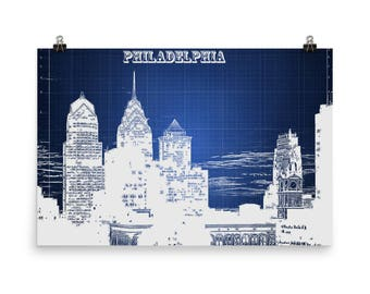 Philadelphia Skyline, Blue Print, City of Brotherly Love, Phillies, Pennsylvania,  Philly, Blueprint Blue, Museum Quality Poster Print