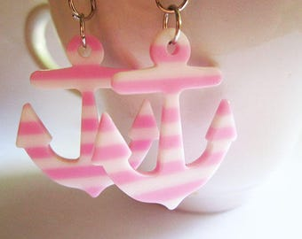 Pink and White Striped Anchor Earrings - Acrylic Anchor Earrings - Navy Themed Earrings - Light Pink Earrings