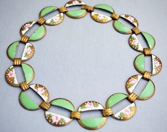 Vintage Painted Brass Necklace Choker Necklace Art Deco Necklace